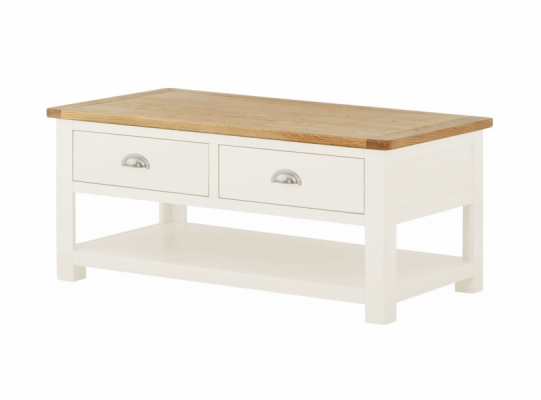 Suffolk White Coffee Table inc Drawers