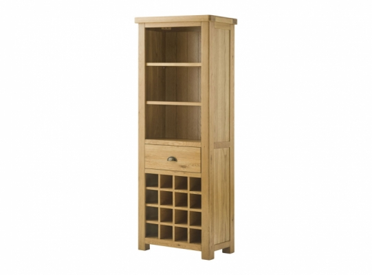 Suffolk Oak Bookcase with Wine Holders