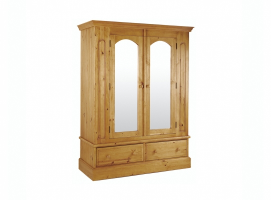St Ives Pine 2 Door Wardrobe With Mirror