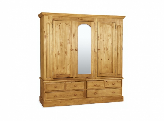 St Ives Pine Triple Wardrobe With Mirror