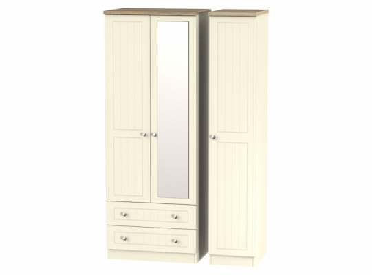 Vienna Tall Triple 2Drw Mirror Robe