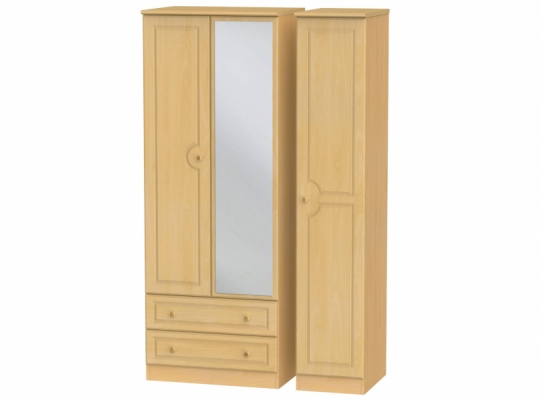Pembroke Tall Triple 2Drw Mirror Wardrobe