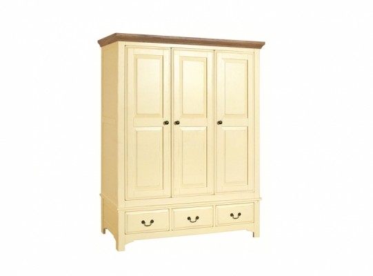 Bloomsbury Cream 3 Drawer Triple Wardrobe