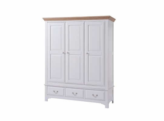 Bloomsbury Grey 3 Drawer Triple Wardrobe