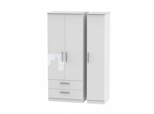 Knightsbridge Triple 2 Drawer Wardrobe