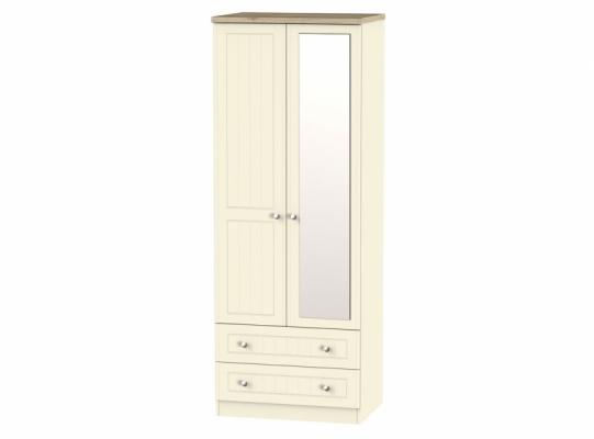 Vienna Tall 2ft6in 2Drw Mirror Wardrobe